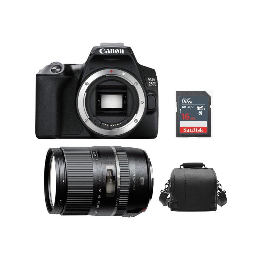 [해외] Canon EOS 250D Black + Tamron 16-300mm F3.5-6.3 Di II VC PZD MACRO (B016E) Canon + Bag +16gb SD card