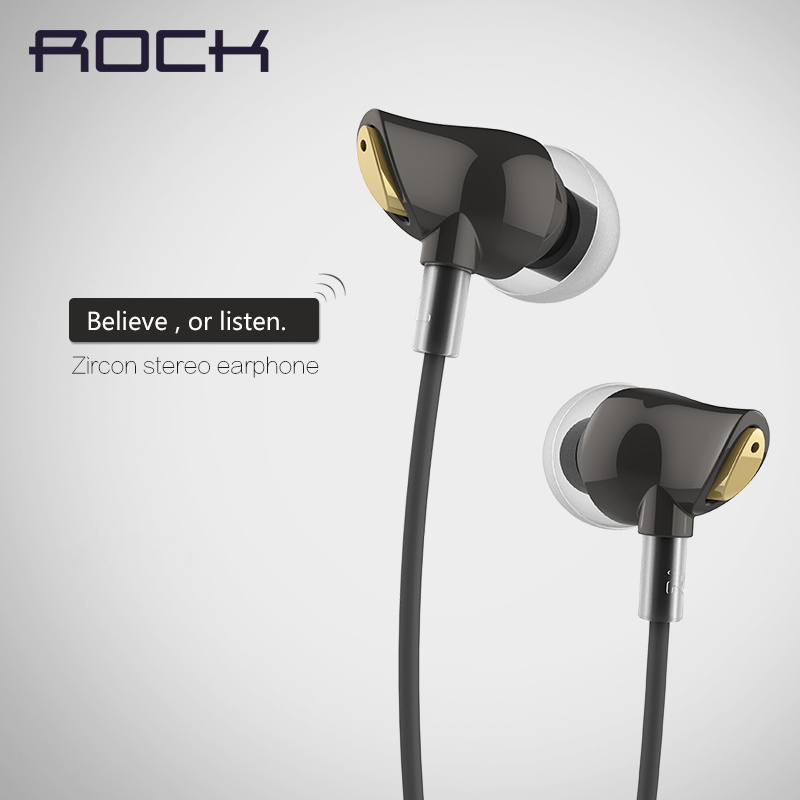 [해외] 100% Original Rock Luxury Zircon Stereo 3.5mm In Ear Earphone Earbuds For Phone With Mic And Remote