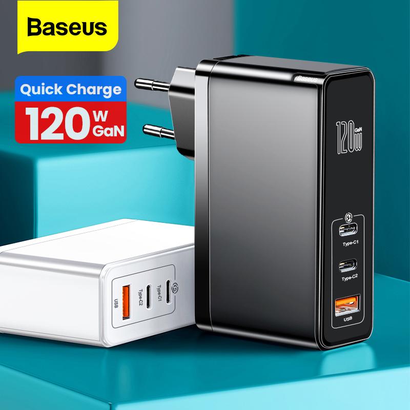 [해외] Baseus GaN Charger 120W PD Fast charging USB C Charger QC4.0 QC3.0 Quick Charge USB Charger Macbook