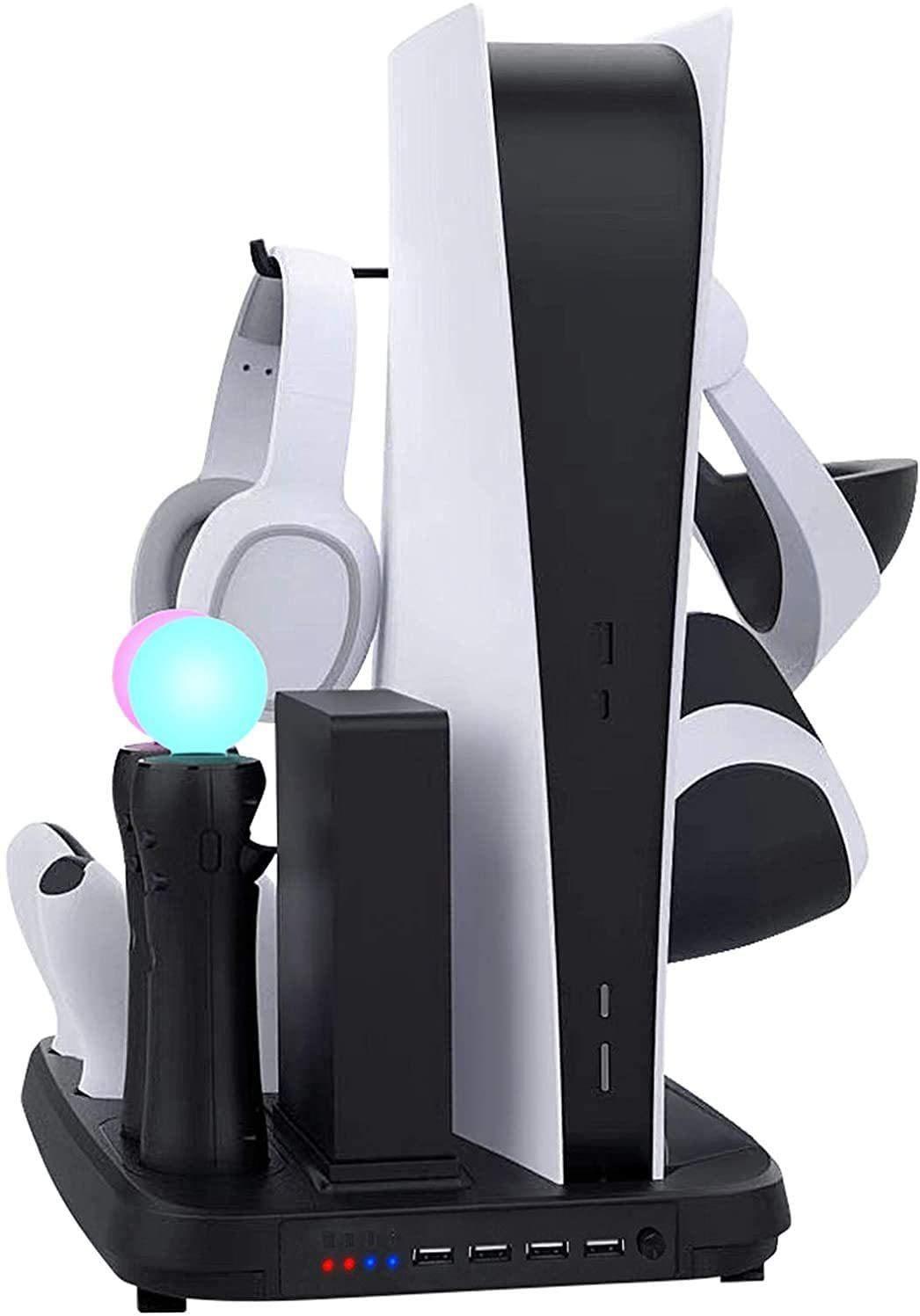 [해외] FIFILION [2021 년 신형] PS5 PSVR 수직 스탠드 PS5 컨트롤러와 PLAYSTATION MOVE 충전기 VR 헤드셋 헤드폰 헤드 마운트 디스플레이 배고픔 게임 소